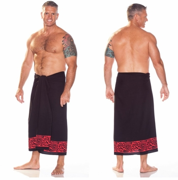 Celtic Tribal Border Top Quality Mens Sarong in Deep Red