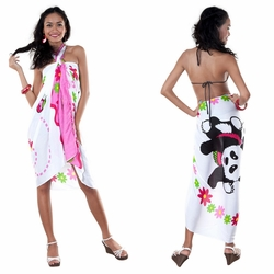 Colorful Panda Sarong with Floral Print in Pink