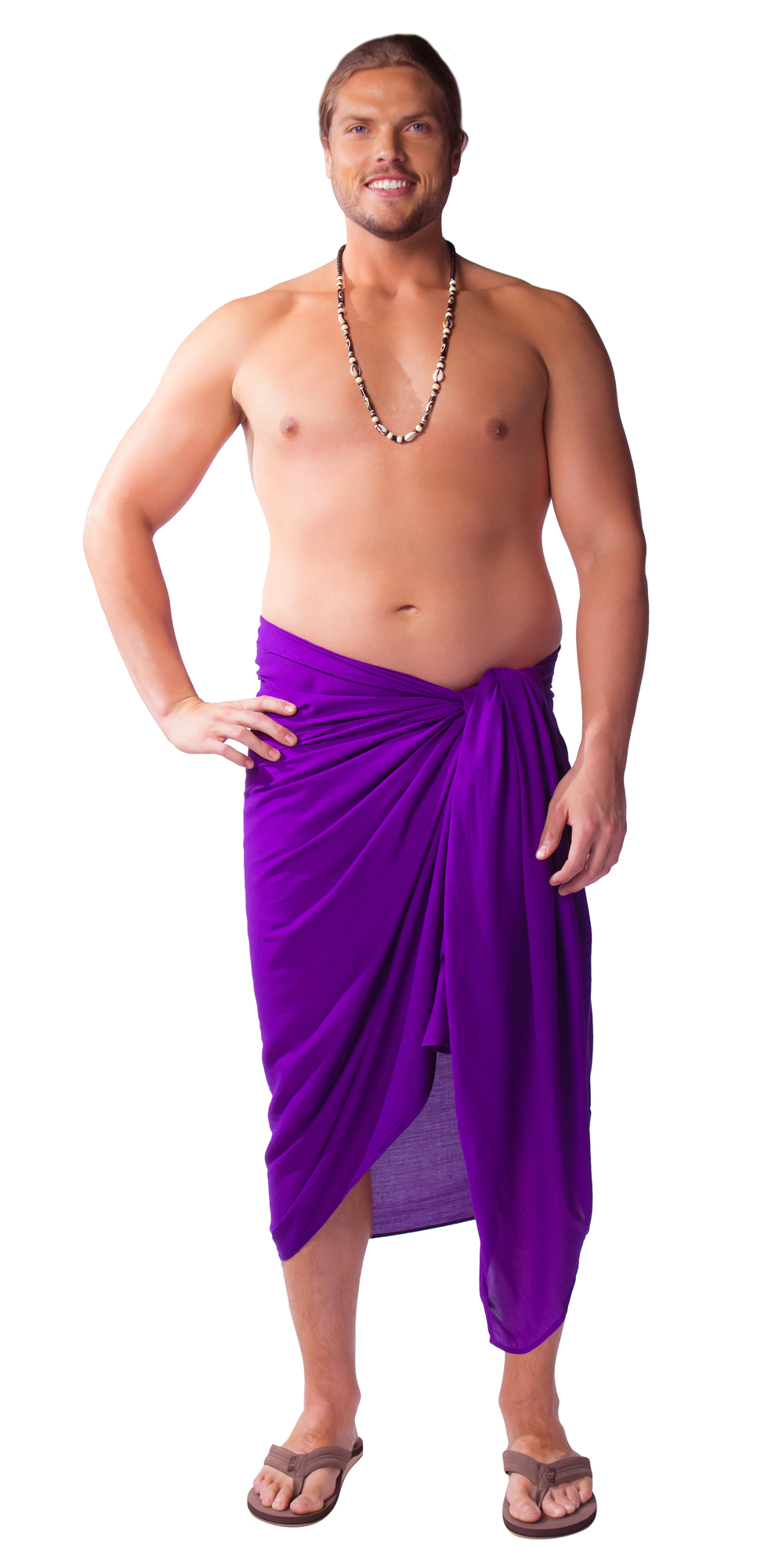 These plus-size sarongs can be worn several different ways. Wear them on your hips as skirts or higher up as dresses. Choose from a variety of different styles and colors such as a plus-size short sarong or longer varieties such as pareos.