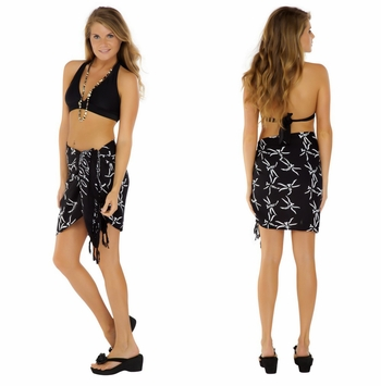 "Dragonfly Half Sarong/Mini Sarong ""Black """
