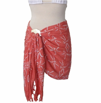 Dragonfly Half Sarong/Mini Sarong in Peach