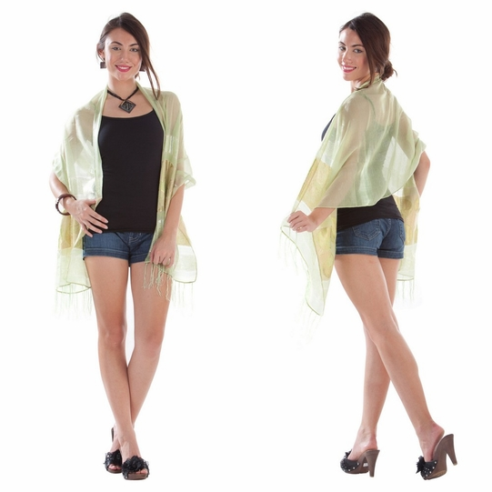 Elegant Silky Scarf in Light Green