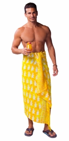 Elephant Mens Sarong in Orange And Yellow