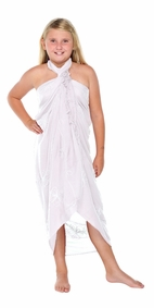 Embroidered Girls Sarong in White