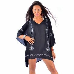 Embroidered Poncho Cover-Up in Black and Grey