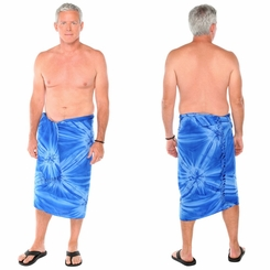 "Embroidered Tie Dye Mens Sarong ""Blue"""