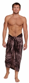 "Embroidered Tie Dye Mens Sarong ""Brown"""