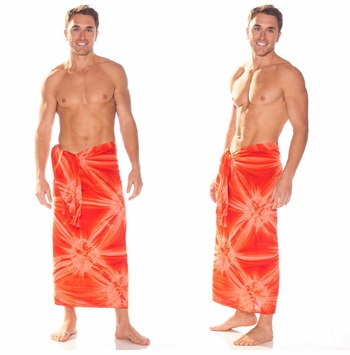 "Embroidered Tie Dye Mens Sarong ""Orange"""