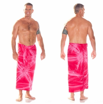 "Embroidered Tie Dye Mens Sarong ""Pink"""