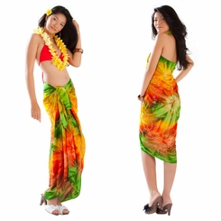 Embroidered Tie Dye Sarong in Orange/Green