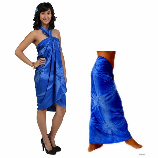 Embroidered Tie Dye Top Quality Sarong in Blue