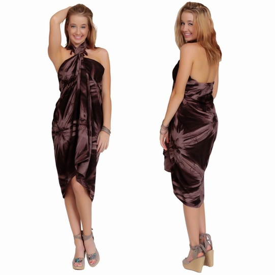 Embroidered Tie Dye Top Quality Sarong in Brown