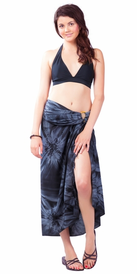 Embroidered Tie Dye Top Quality Sarong in Charcoal