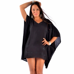 Embroidered Poncho Cover-Up in Black