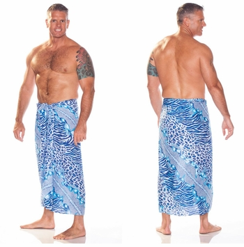 Feline Animal Print Mens Sarong in Blues/White