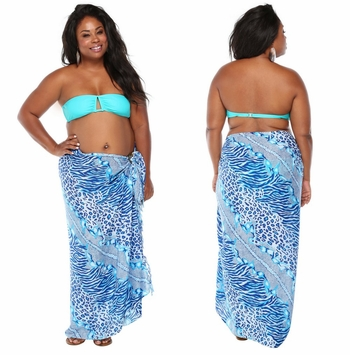 Feline Animal Print Sarong in Blues/White