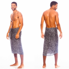 Feline Mens Sarong Black/White