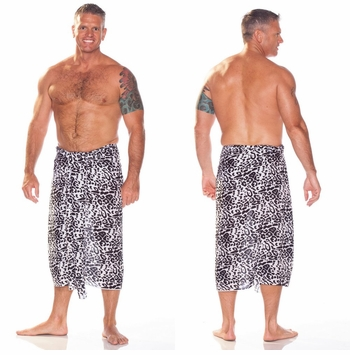 Feline Print Mens Sarong in Black And White