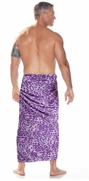 Feline Print Mens Sarong in Purple