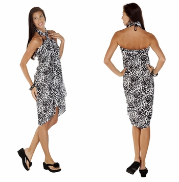 Feline Print Sarong in Black And White