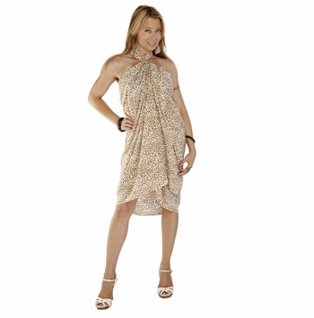 Feline Sarong in Cream And White Fringless