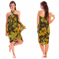 "Floral Sarong ""Divine Earth"" Brown and Green"