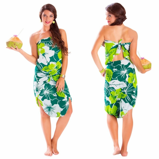 "Floral Sarong ""Amazonia"" Jungle Green and White"
