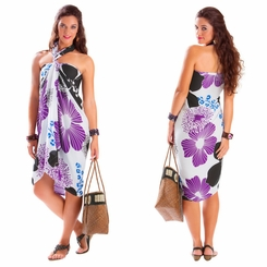 "Floral Sarong ""Wild Violets"" Purple and Black"
