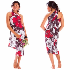 "Floral Sarong ""Radiant Ruby"" Red and Purple"