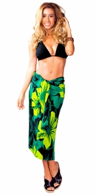 "Floral Sarong ""Papakolea"" Green and Black"