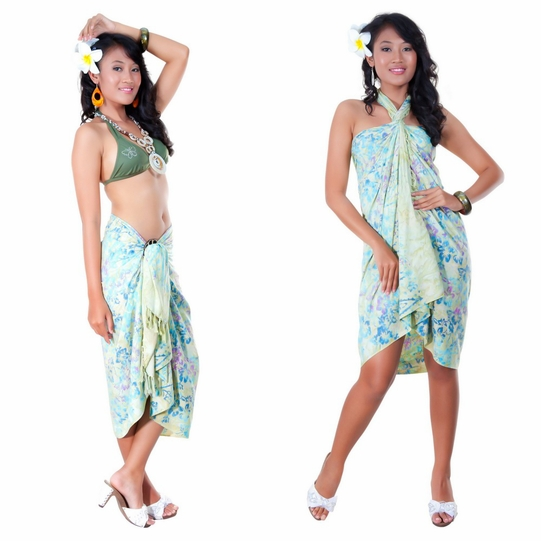 Floral Top Quality Sarong in Light Green