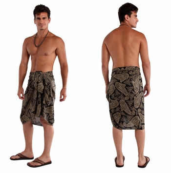 Fringeless Paisley Mens Sarong in Black