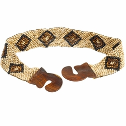 Full Coco Bead Belt with Large Square Motif