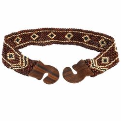 Full Coco Bead Belt with Small Diamond Square Motif