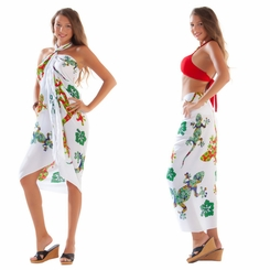 Gecko and Floral Sarong in Red