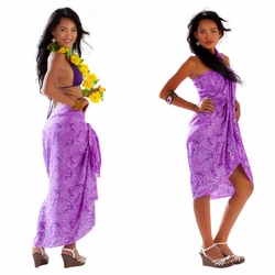 Gecko & Leaf Sarong in Purple
