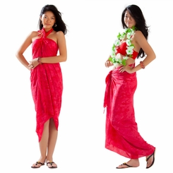 Gecko & Leaf Sarong in Red
