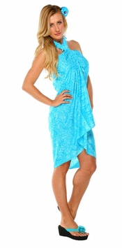 Gecko & Leaf Sarong in Turquoise