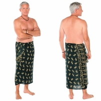 "Gecko Mens Sarong 8 ""Green with Cream"""