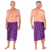 "Gecko Mens Sarong ""Purple / Black"""