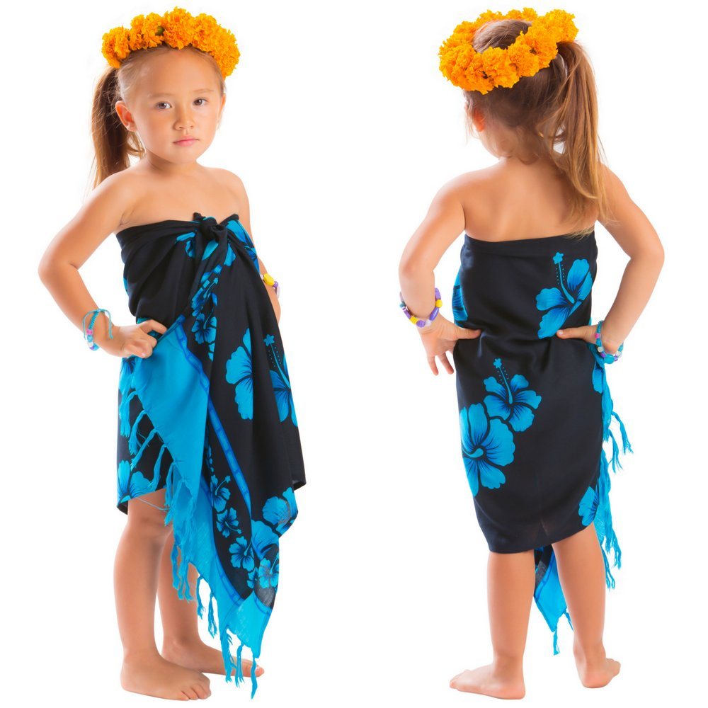 Girls Hibiscus Half Sarong in Turquoise / Black