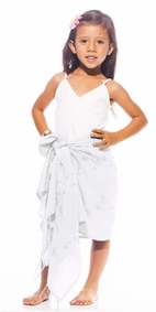 Girls Sequined / Embroidered / Beaded Half Sarong in White