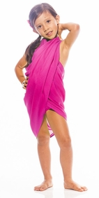 Girls Solid Color Half Sarong in Hot Pink