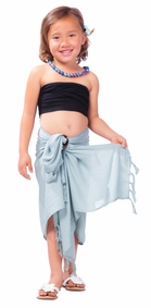 Girls Solid Color Half Sarong in Light Grey
