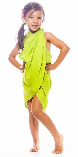 Girls Solid Color Half Sarong in Lime Green