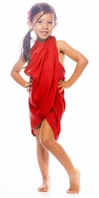 Girls Solid Color Half Sarong in Red FRINGELESS