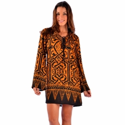 Goldish Brown Abstract Tribal Tunic Cover Up