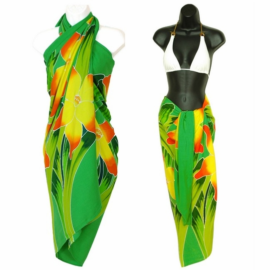 Green Hand Painted Orchid Top Quality Sarong