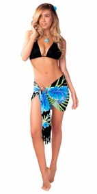 Half Hawaiian Floral Sarong in Turquoise/Black
