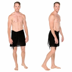 Half Mens Sarong / Mini Mens Sarong Pareo in Black